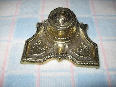 Antique Heavy Brass Victorian Inkwell Art Deco w/ Porcelain Insert (Chipped!)