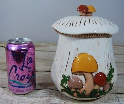 Vintage 1970's Arnel's Mushroom Canister/Retro Ceramic LARGE cookie jar with lid