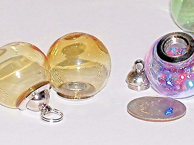 1pc Wide Mouth Glass Crystal Ball Bottle Locket vial Screw top Globe Orb Amber