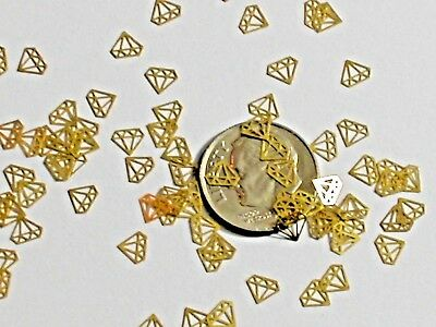 20pc Tiny metal golden Diamond shaped charm fairy dust glitter mini confetti NEW