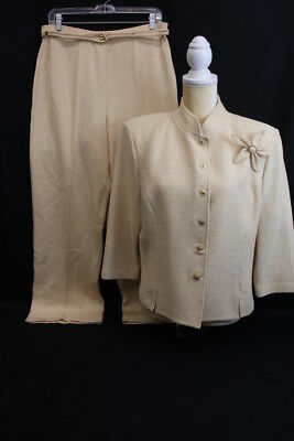 ST. JOHN Collection By Marie Gray Beige Textured 2Pc Pant Suit Size 14 USA (145)