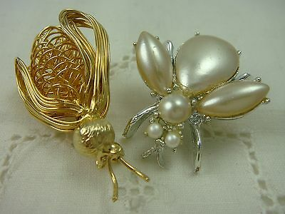 Vintage Gold Silver Tone Set Of 2 Fly Wire Faux Pearl Pin Brooches