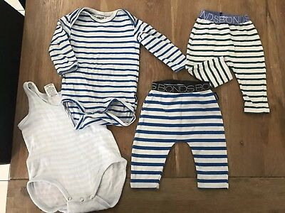 Bonds Baby Boy Bundle Size 000 Long Sleeve Bodysuit Leggings Stripe Singlet Suit