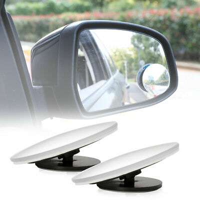2PCS Round Blind Spot Mirrors Wide Angle Adjustable Rimless Mirror Rear View