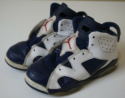 ddf3bf169c22 Nike Air Jordan Retro 6 VI Olympic Youth Toddler Size 13C 384666-130 Blue  White