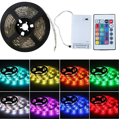 5050 RGB LED Strip Light Battery Powered Flexible Lamp Waterproof Light + Remote