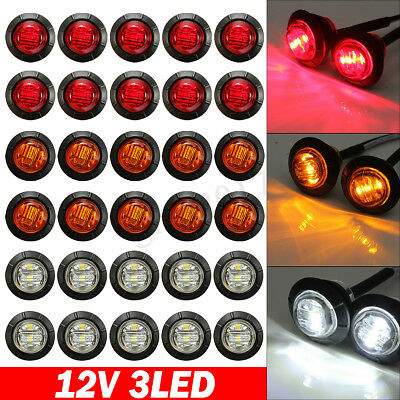 12V Car Truck Lorry Trailer Led Round Bullet Button Rear Side Marker Lights Lamp