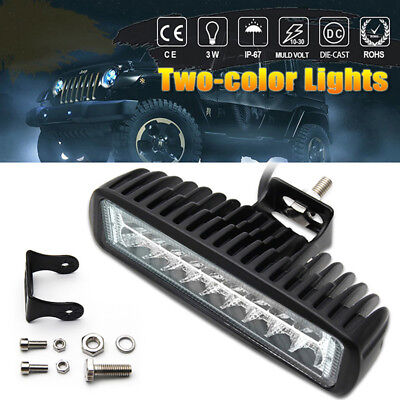 "2PCS 40W 6"" 18 LED Work Light Bar Spot Driving Fog Lamp Off Road SUV Truck 6000K"