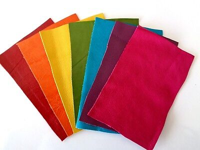 Brand New RAINBOW 7 piece GENUINE LEATHER SCRAPS, OFF CUTS for CRAFTS & HOBBIES