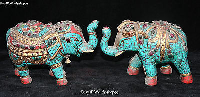 "8"" Old Chinese Turquoise Coral Bronze Auspicious Elephant Animal Statue Pair"