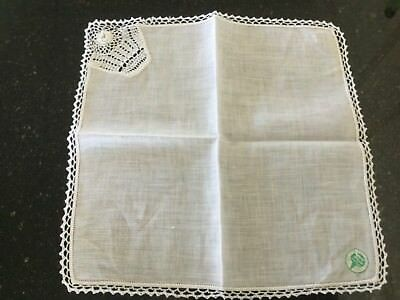 Maid of Erin Irish Linen Handkerchief with Crocheted Edge
