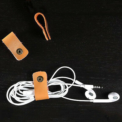 Leather Headphone Earphone Earbud Cable Tie Cord Wrap Winder Organizer Holder LS