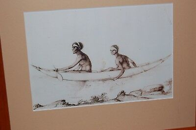 Framed print of an illustration of Aust. Aborigines by early French explorers.
