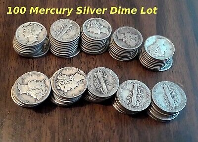Liberty Winged Mercury Dimes Silver 100 Coin Lot, US 10c~ 1920's, 1930's, 1940's