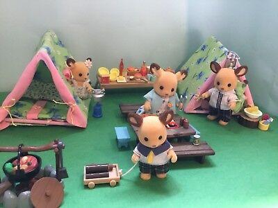 Sylvanian Families Red Deer Family, And Large Camping Set