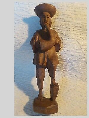 Vintage Wood Hand Carved Statue - Figurine - Man And Bota Bag
