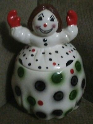 RARE RARE Vintage CLOWN w Hands Up Cookie Jar very old old