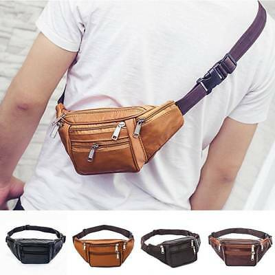 33bd7a95c0d3 Leather Fanny Pack-Mens Waist Belt Bag-Womens Purse Hip Pouch Travel Black  Brown
