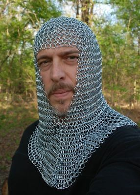 New Knights Steel Chainmail Chain Mail Coif Armor Hood for Hauberk 10mm Butted