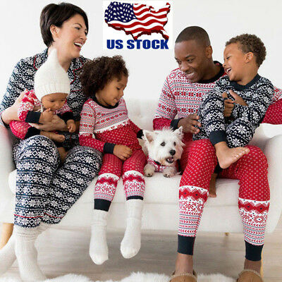 USA Family Matching Adult Women Kids Sleepwear Nightwear Pajamas Christmas Gifts