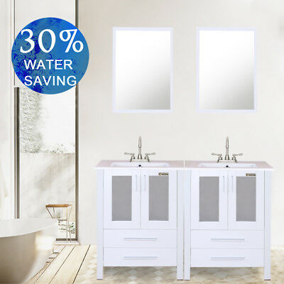 """White Bathroom Vanity 48"""" Rectangle Ceramic Sink with 2 Handle Faucet Mirror"""