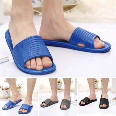 Mens Bathroom Slip On Sport Slide Sandals Flip Flop Shower Shoes Slippers House