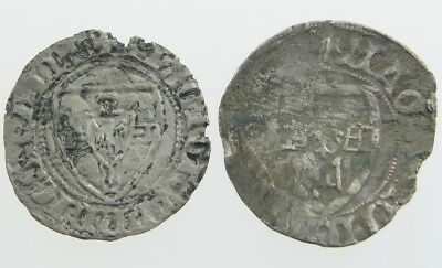 Germany Teutonic Order Medieval Knights silver Schilling coin lot of 2