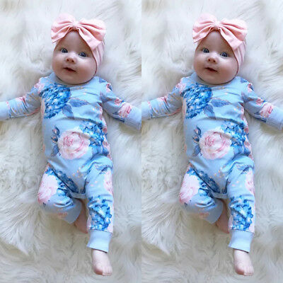 2Pcs Newborn Infant Baby Girls Flower Romper Bodysuit Jumpsuit Outfits Playsuit