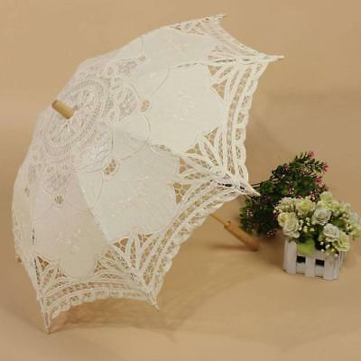 Vintage Lady Handmade Lace Parasol Umbrella Wedding Bridal Party Decor 2018