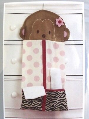 Carter's Jungle Collection Pink Polka Dots Monkey Diaper Stacker Nursery
