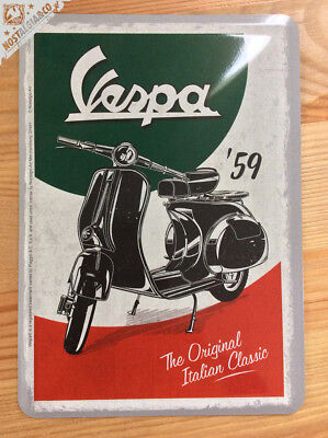 RARE VESPA '59 - Metal Postcard Mini Tin Sign Novelty Card Scooter Italy gift