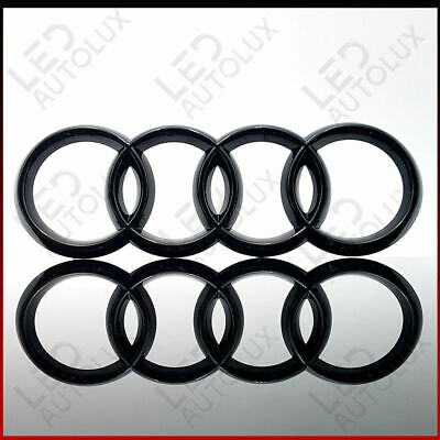 Black Gloss Front Grille Badge Rings Logo Emblem Audi A3 A4 A5 A6 Sline 273x94