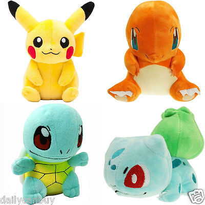 Pokemon Plush Toys 4PCS Pikachu Bulbasaur Squirtle Charmander Action Collect UK