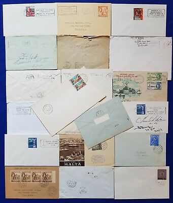 Malta Lot 20 covers - village postmarks, machine cancels + Signed Cover
