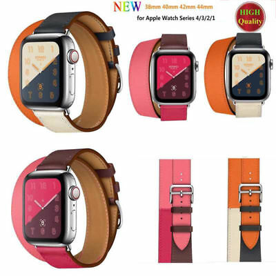 Leather Watch Band Herme Belt Single/Double Tour for Apple Watch Series 54/3/2/1