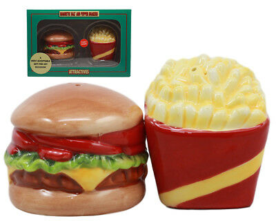 Cheese Burger and French Fries Salt And Pepper Shakers Set Ceramic Spice Decor
