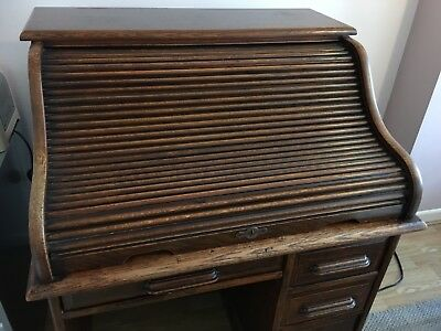 Antique Deco Period Lebus Oak Roll Top Tambour Desk - fair condition