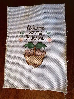 Welcome To My Kitchen Completed Cross Stitch.