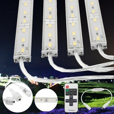 4X 12V Outdoor Waterproof Led Strip Lights Bars Dimmer Camping Boat Car + Remote