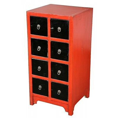 Lou Lan Chinese Inspired Red and Black 8 Drawer Cabinet Chest of Drawers