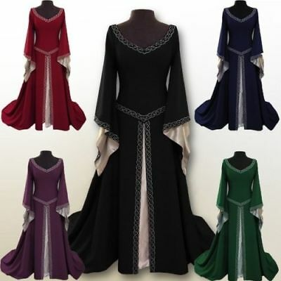 Women's Medieval Renaissance Vintage Gown Dress Halloween Party Costume Cosplay