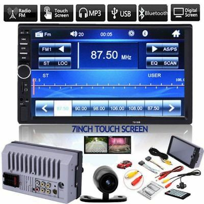 "Bluetooth Car Stereo Radio 2 DIN 7"" HD MP5 FM Player Touch Screen With Camera"