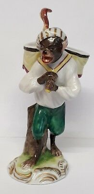 Oldest Volksteadt Germany Porcelain Monkey Band Figure Drummer.