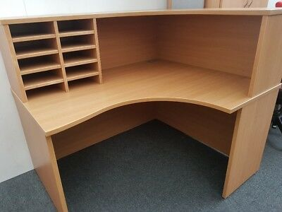 Office Reception Desk Counter Pigeon Hole Front Of House Light Oak 1.4M Vgc