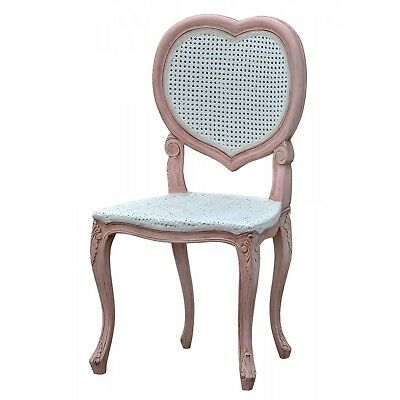 Isabella Heart Back Chair Pink Wooden Dusky Rose Antique Love Romance Bedroom