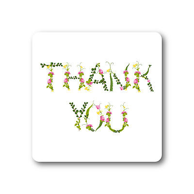 Floral Botanical Lettering Thank You Stickers | Square | TY125