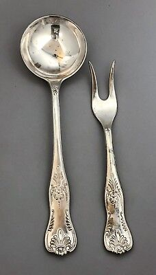 Vintage silver plate Italy large meat fork soup ladle Kings Pattern ornate spoon