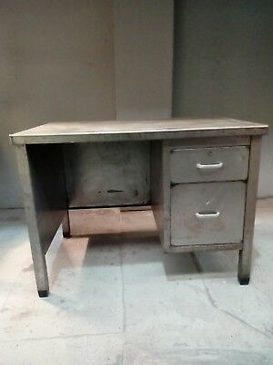 Vintage Industrial Metal Heavy Duty Office Desk with Draws