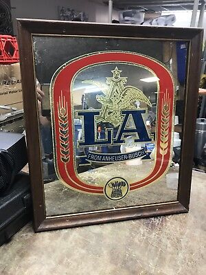 """Vintage 1987 Anheuser Busch LA Beer 21 x 18"""" Mirrored Bar Wall Beer Sign"""