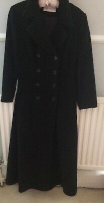 Ladies Wool and Cashmere Winter Coat. Black UK 12 Fully Lined Vgc